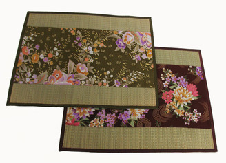 Boon Decor Altar Mat or Place Mat - Woven Tatami and Japanese Silk- Reversible 17x14