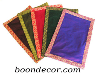 Boon Decor Altar Mat - Solid Silk-Blend with Silk Jewel Brocade Trim SEE COLOR CHOICES