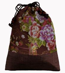 Boon Decor Japanese Silk Print Accessory Bags Silk Bag - Mauve/Taupe Floral Print