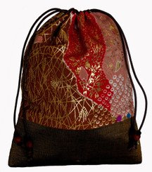 Boon Decor Mala Bag - Japanese Silk Print - Drawstring with Wood Beads SEE COLORS and PATTERNS