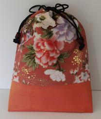 Boon Decor Mala Bag - Japanese Silk Print - Peach Wild Daisies
