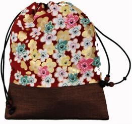 Boon Decor Mala Bag - Japanese Silk Print - Red Sakura