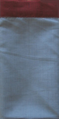 Boon Decor Silk Napkins - Burmese Silk Silk Napkins - Set of 6 - Blue-Gray w/Burgundy Trim