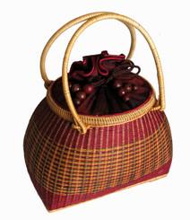 Boon Decor Handbag - Woven Bamboo and Silk 6 x 4.5