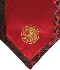 Boon Decor Altar Cloth Or Wall Hanging - Embroidered w/ Brocade Silk Trims Red Dragon in Circle