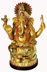 Boon Decor Ganesh - Painted Golden Resin 7 high