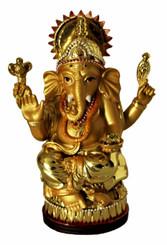Boon Decor Ganesh - Painted Golden Resin 5 high