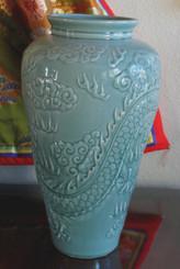 Boon Decor Celadon Dragon Vase - 19 Back View of Dragon Vase