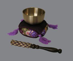 Boon Decor Singing Bowl Set - Japanese Spun Brass Rin Gong 2.7 dia Cushion and Striker SEE COLORS