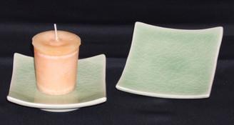 Boon Decor Votive Holder Cone Incense Burner or Celadon Dish - 3.75 Square Set of 2
