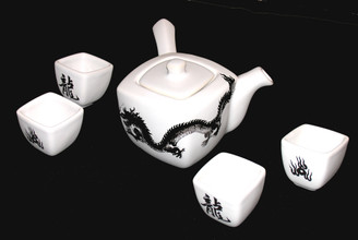 Boon Decor Dragon Tea Set or Large Sake Set - Dragon Stoneware Table Top