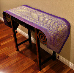 Boon Decor Table Runner Wall Hanging One of a Kind Brocade Fabric w/ Tassels - Purple 16 x75