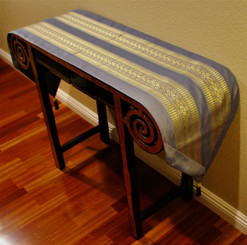 Boon Decor Table Runner Classic Silk Brocade Fabric One of a Kind - Blue Gray 75x15.5