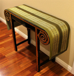 Boon Decor Table Runner Wall Hanging Classic Brocade One of a Kind - Olive Green 72 x 14