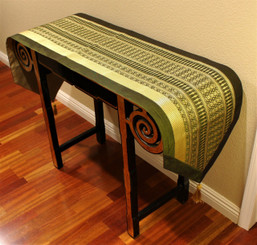 Boon Decor Table Runner Wall Hanging Classic Thai Silk Brocade One of a Kind Olive Green 79x17
