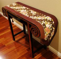 Boon Decor Table Runner Wall Hanging Japanese Kimono Silk Print - Burgundy Brown w/ Gold Accents 74x14