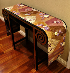 Boon Decor Table Runner or Wall Hanging - Contemporary Japanese Silk Print - Mauve/Cream 84 x 12