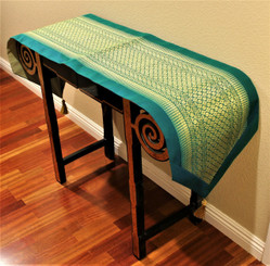 Boon Decor Table Runner Wall Hanging Classic Brocade One-of-a-Kind Teal 75x16.5