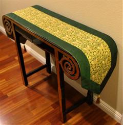 Boon Decor Table Runner Japanese Kimono Silk Print Abstract Scroll Green Gold 74x14