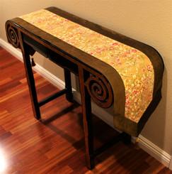 Boon Decor Table Runner or Wall Hanging - Japanese Kimono Silk Print - Brown Gold 74x14