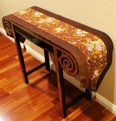 Boon Decor Table Runner Japanese Silk - Chrysanthemum Brown w/ Gold Accents 74x14
