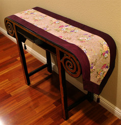 Boon Decor Table Runner Japanese Kimono Silk Print - Purple/Lavender w/ Gold Accents 74x14