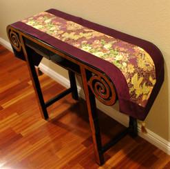 Boon Decor Table Runner Japanese Kimono Silk Print - Purple Plum w/ Gold Accent 74 x 14