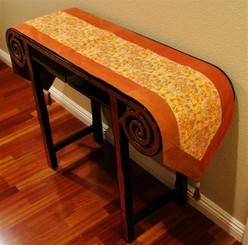 Boon Decor Table Runner Japanese Kimono Silk Print - Saffron with Gold Accent 74 x 14