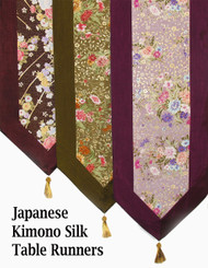 Boon Decor Table Runner or Wall Hanging - Japanese Kimono Silk Print SEE COLORS and PATTERNS