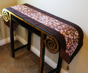 Boon Decor Table Runner Japanese Kimono Silk Print - Orchid Brown Gold Accent 14x74