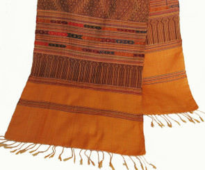 Boon Decor Table Runner/Wall Hanging - Pure Hand-Loomed Silk One-of-A-Kind Goldenrod 82 x 16.5