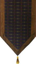 Boon Decor Table Runner - Silk Blend Global Weave - Golden Brown and Black 15x74
