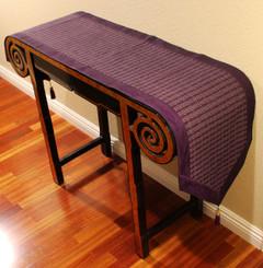 Boon Decor Table Runner Wall Hanging Silk Blend Global Weave - Purple 15x74