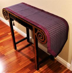 Boon Decor Table Runner Wall Hanging Silk Blend Global Weave - Purple Magenta 15x74