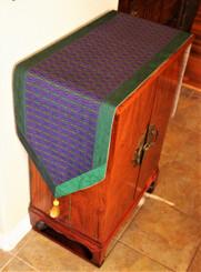 Boon Decor Table Runner Wall Hanging Silk Blend Global Weave Purple Green 74x15