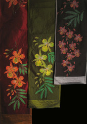 Boon Decor Wall Hanging or Table Runner - Hand Painted and Beaded - Exotic Orchids SEE COLORS