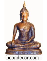Boon Decor Buddha Statue - Earth Witness Mudra - Sukothai Style - Solid Bronze 13.5
