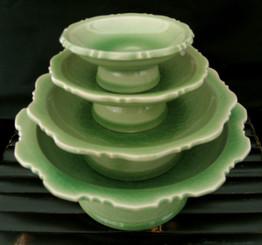 Boon Decor Thai Celadon Pedestal Serving Dishes - Set of Four