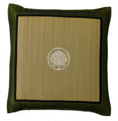Boon Decor Tatami Throw Pillow - Embroidered with Silk Trims Green Lotus