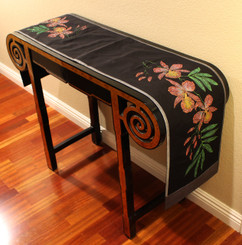 Boon Decor Table Runner Wall Hanging Hand Painted Beaded Exotic Orchids Black 74x12