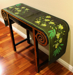 Boon Decor Table Runner Wall Hanging Hand Painted Beaded Exotic Orchids live Green 74x12