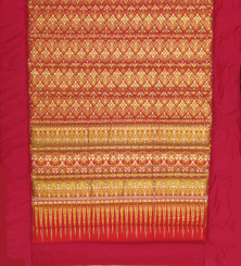 Boon Decor Yoga or Meditation Mat - Quilted Roll-Up Polished Cotton Print - Cranberry/Gold