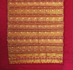 Boon Decor Yoga Mat or Meditation Mat - Quilted Roll-Up Cotton - Pomegranate/Gold 70x24