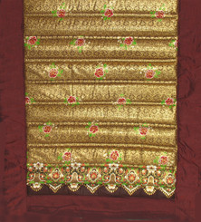 Boon Decor Yoga Mat or Meditation Mat - Quilted Roll-Up Polished Cotton - Brown/Gold 70x24