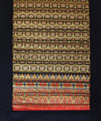 Boon Decor Yoga Mat - Quilted Polished Indochine Cotton Print - Black/Gold/Green 70x 24