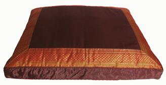 Boon Decor Meditation Cushion Zabuton Floor Mat - One of a Kind Brocade Saffron Brown