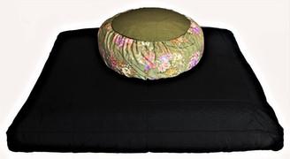 Boon Decor Meditation Cushion Zafu Zabuton Set Japanese Silk Pillow - Sage