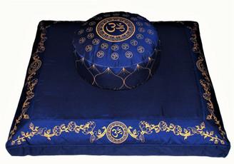 Boon Decor Meditation Cushion Zafu and Zabuton Set - Om Universe/Lotus Wreath - Blue