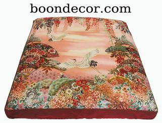 Boon Decor Meditation Cushion Floor Mat One-of-a-Kind Zabuton Imperial Dawn Cranes