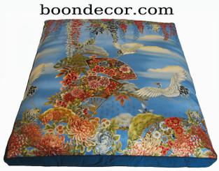 Boon Decor Japanese Zabuton Meditation Floor Cushion One-of-a-Kind Imperial Dawn Cranes
